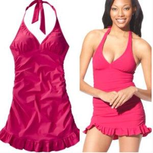 Assets by Spanx Fuchsia Pink Halter Swim Dress XL